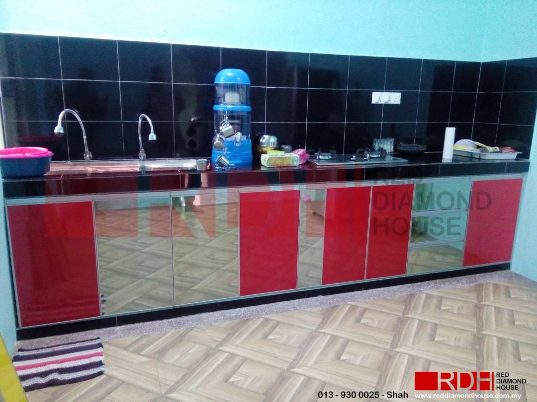 Kabinet Dapur Table Top 10 P X 2 L Dan 15 Serta Stainless Steel Sink Dua Setengah Lubang