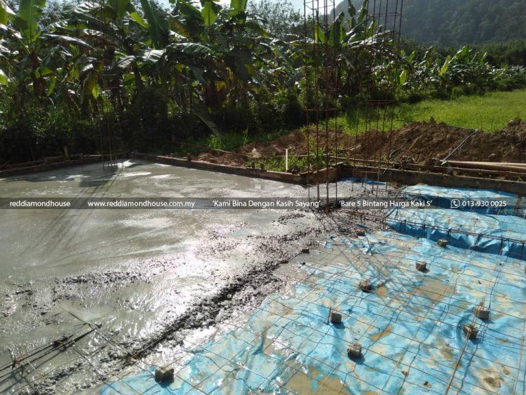 Bina Rumah Atas Tanah Sendiri Pasir Puteh Konkrit Slab